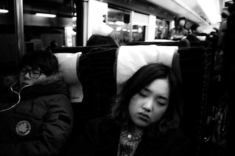 On the train to Busan, South Korea.